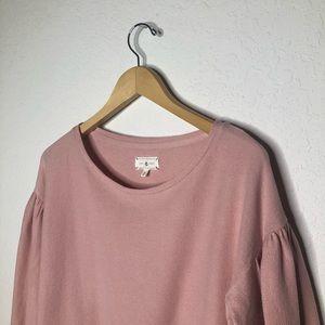 Lou & Grey Tops - Lou & Grey Crewneck Bubble Sleeve Sweatshirt